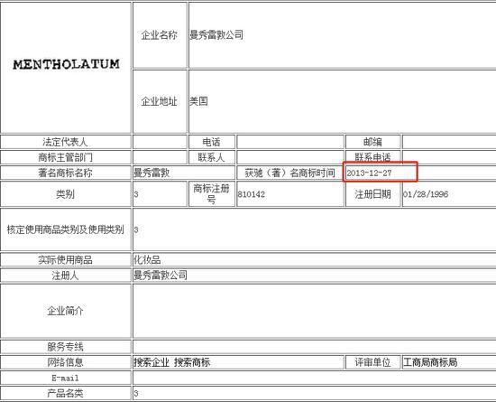 """2013年12月,""""曼秀雷敦""""获得""""驰名商标""""认证。来源:中国驰名商标网站"""