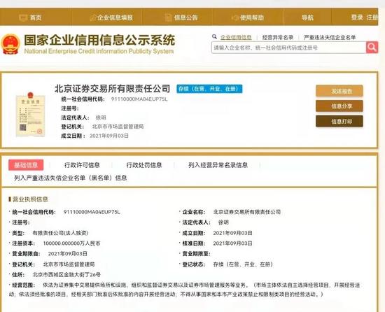 北京证券交易所有限责任公司注册成立,徐明出任董事长