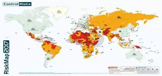 图:全球地缘政治及安全风险分布图(红色及黄色为中高风险地域)数据来源:controrisk.com