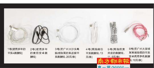 测试的6款手机数据线。