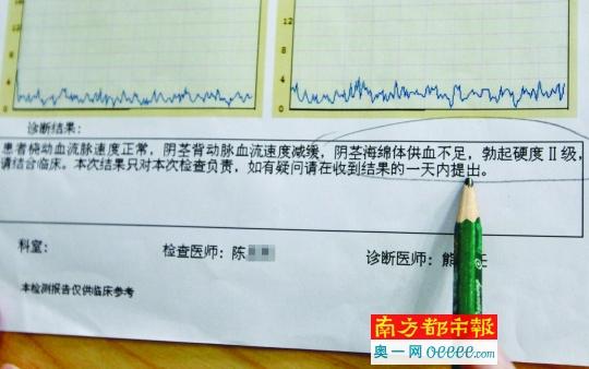 """深圳昆仑泌尿外科病院出具的检查申报显示,暗访的南都记者患有""""本质性早泄""""和""""海绵体供血不足""""。"""