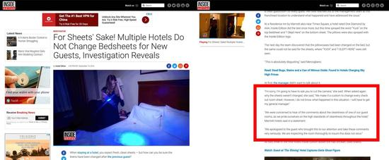 图:http://www.insideedition.com/investigative/18622-for-sheets-sake-multiple-hotels-do-not-change-bedsheets-for-new-guests-investigation-reveals
