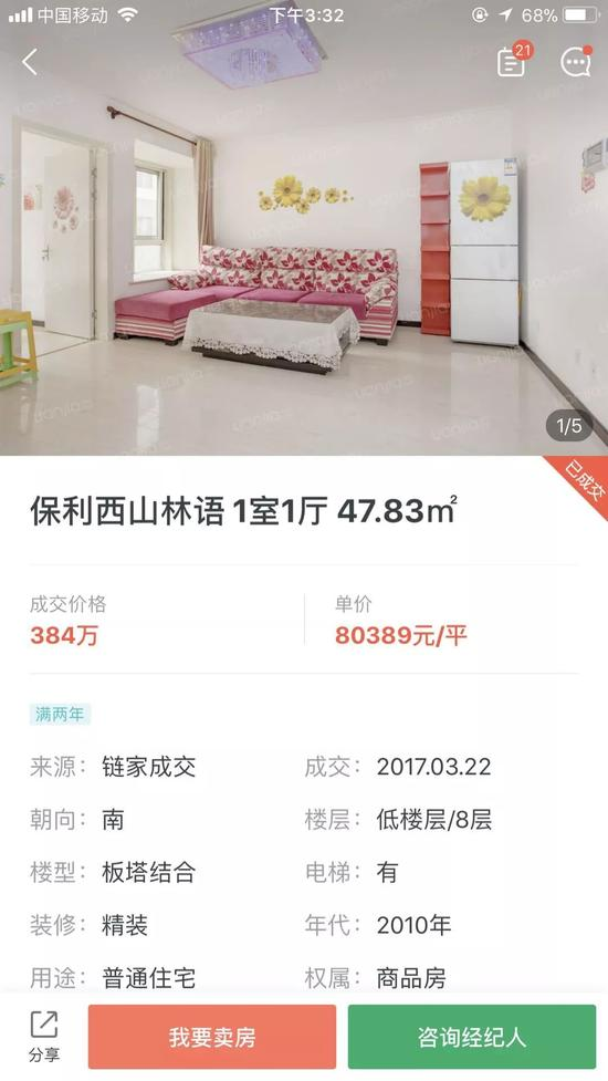 到了10月25日,保利西山林语一套48.83平方米的一室一厅,成交单价为5.3万元,仅仅半年的时间,均价下降了2.7万元,降幅约为34%。