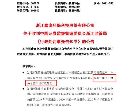 公司反向操作虚减利润 嘉澳环保董秘因签字被罚50万元