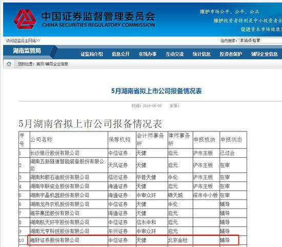 湖南证监局官网截图