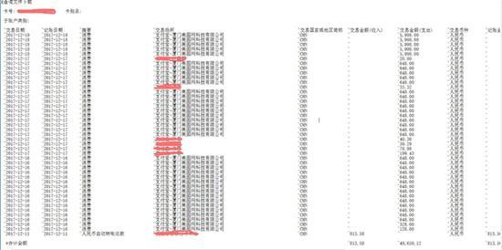 刘先生提供从银行调取的流水单