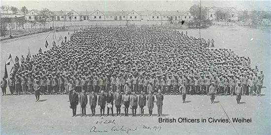|英国军官和中国劳工在威海训练营