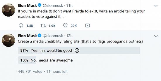 马斯克要创建媒体公信力评分网站 名字就叫真理