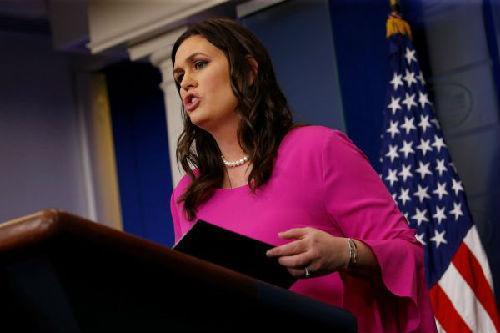 16日,白宫发言人桑德斯就欧盟关税清单一事发表评论。(路透社)