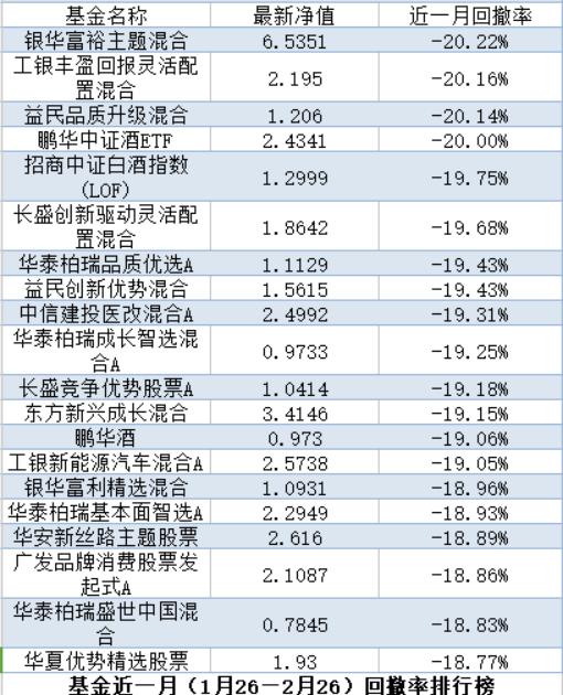 4只牛基一月回撤逾2成:重仓这类标的基金净值跌得多