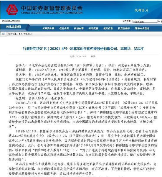 每5个中国人中就有一个阳痿患者? 常山药业遭顶格处罚