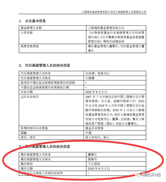 工银瑞信高层地震 公司元老郭特华闪辞董事长