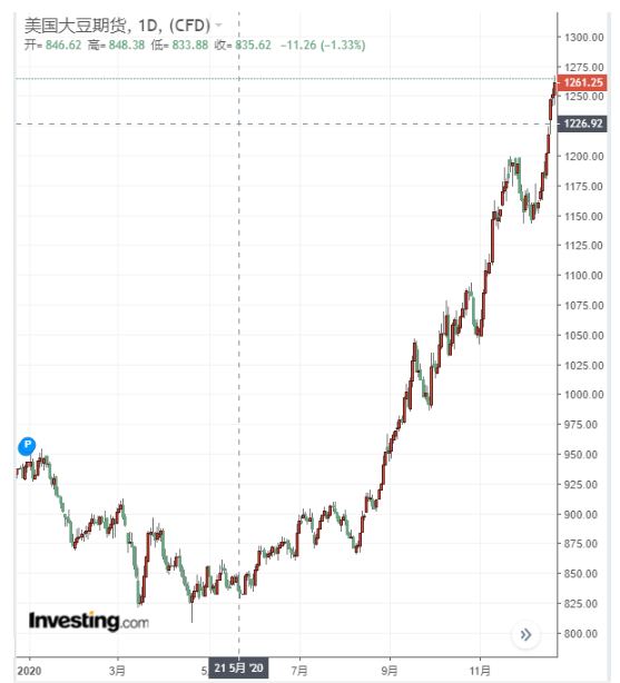美国大豆日线图,来源:英为财情Investing.com