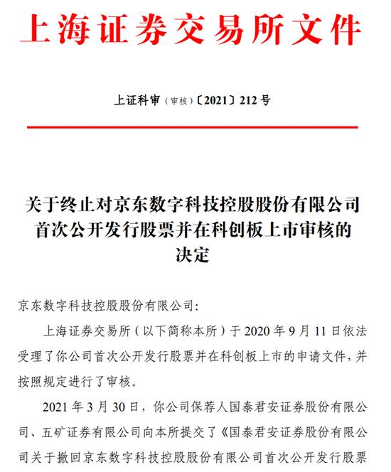 上交所发布公告 京东数科撤回科创板IPO申请