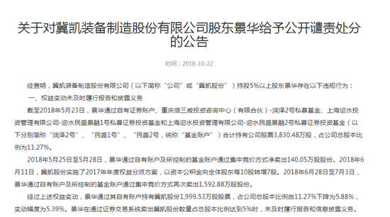 """涉嫌操纵仁东控股:知名牛散景华拟被罚500万 监管部门""""零容忍""""严厉"""