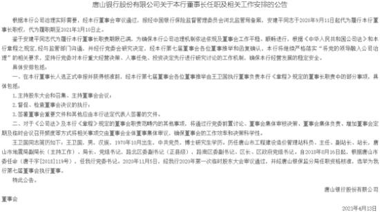 """两度换人仍未确定新任""""掌门"""" 唐山银行资产规模连续收缩"""