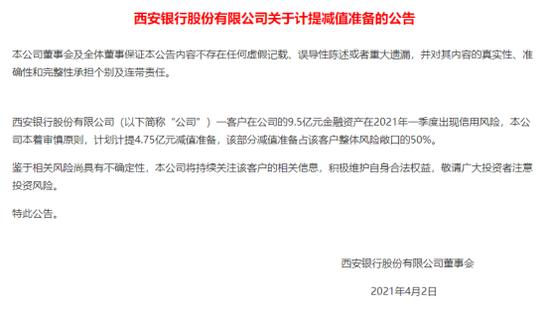西安银行爆出9.5亿信用风险,究竟踩了哪个雷?