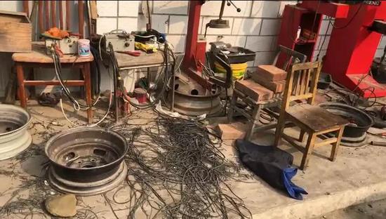 ?地下作坊内的轮胎翻新设备