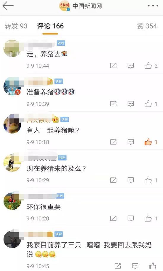 中新网微博网友评论截图。