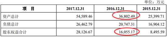 朗进科技2018年版招股书中资产负债表主要数据
