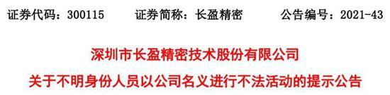 """刚被景顺长城副总经理刘彦春调研 长盈精密突现""""李鬼"""""""