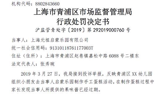 元祖启蒙乐园因向幼儿提供过期果酱 被罚13万元