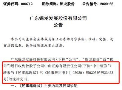 矛头直指锦龙股份 小股东将中山证券告上法庭