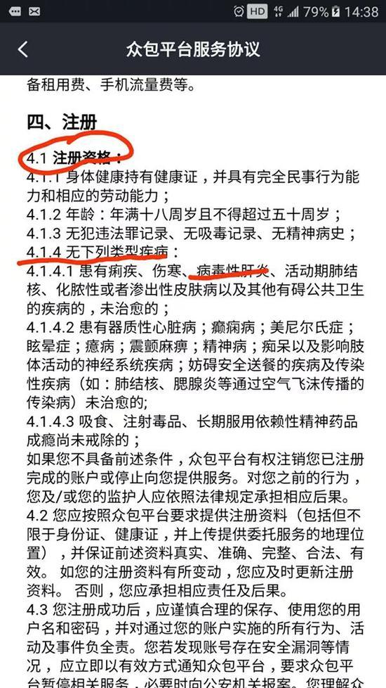 众包平台服务协议 来源:澎湃新闻