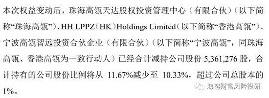高瓴资本减持良品铺子:持有股份从11.67%减少至10.33%