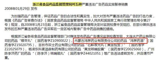2008 年被浙江省药监局处罚