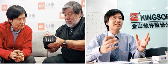 雷军和苹果创始人之一沃茨尼亚克出席小米记者见面会(左)金山软件时的雷军(右)