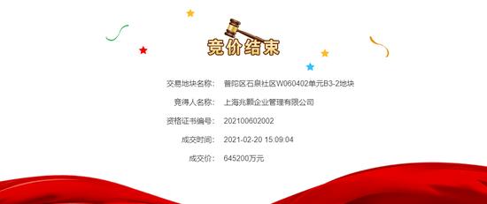 融创+建发联合体64.5亿竞得上海普陀区1宗住宅用地 溢价率36.15%