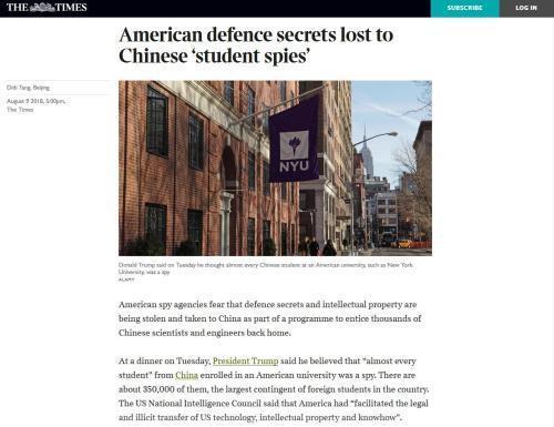"""《泰晤士报》有关""""留学生间谍论""""的报道。(网页截图)"""