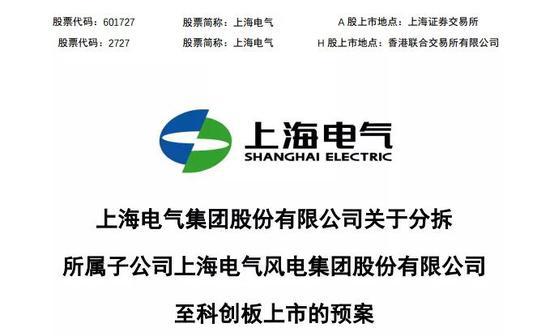 地方国资首单分拆上市 上海电气把风电资产送科创板