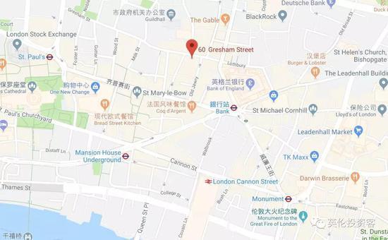 新楼地址是60 Gresham Street,地处伦敦金融城核心区,最近的地铁站是Bank