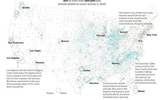 *圆圈由小到大表示该地有300~50万个工作岗位与出口相关,浅紫色表示出口依赖度低于8%,深紫色8%~15%,绿色16%~50%