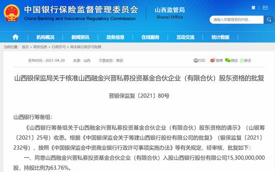 山西银行第一大股东现身:山西融金兴晋私募投资基金持股63.76%