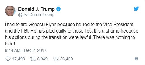 进入雷锋高手坛乌龙报道后首发声!特朗普对于弗林认罪说了些什么?