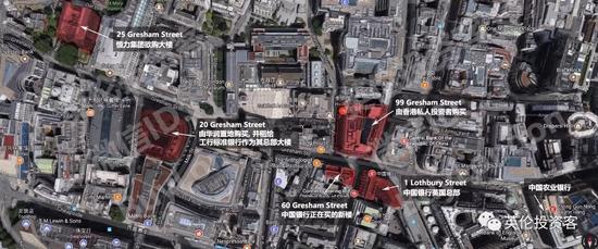 图中标红的大楼均为中国买家持有