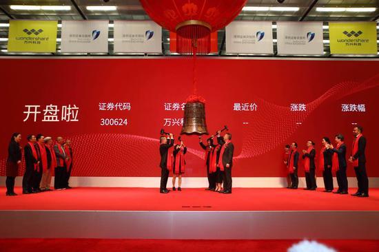 万兴科技在深圳证券交易所敲钟上市