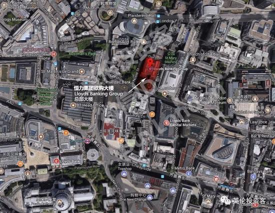 图为劳埃德银行集团总部大楼具体位置,地址为25 Gresham Street,位于伦敦金融城核心区