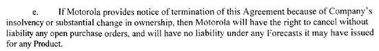 摩拉罗拉框架合同条款第37条第e款(P39)