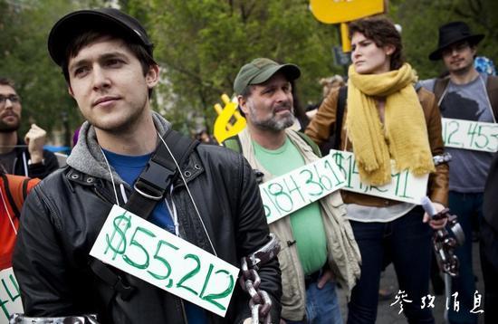 美國人掛着待還金額以抗議學生貸款負擔太重,圖片來源:路透社