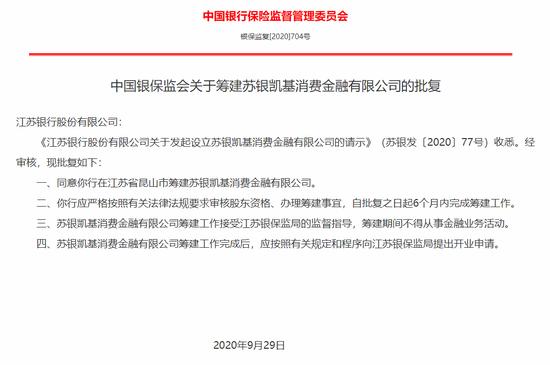银保监会:苏银凯基消费金融公司获准筹建