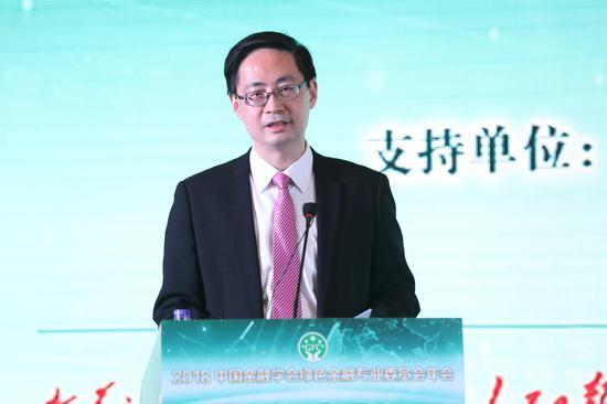 图为中国金融学会绿色金融专业委员会主任、清华大学五道口金融与成长研究中心主任、G20可一连金融研究小组配合主席马骏