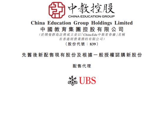 中教控股折让8%配售1.22亿股 股价低开7.96%