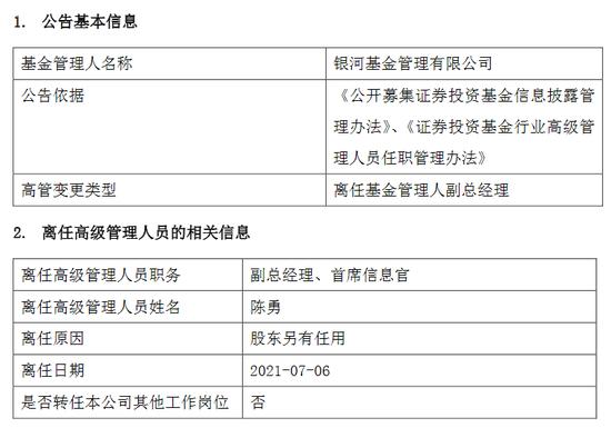 因股东另有任用 银河基金陈勇离任副总经理、首席信息官