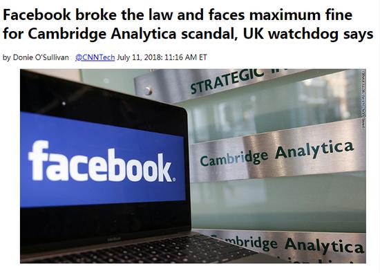 外媒头条:因数据丑闻 Facebook恐遭50万英镑最高罚款