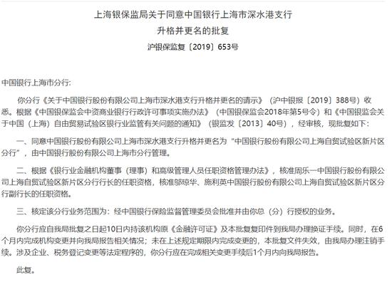 中行上海自贸试验区新片区分行获批 系建行后第二家