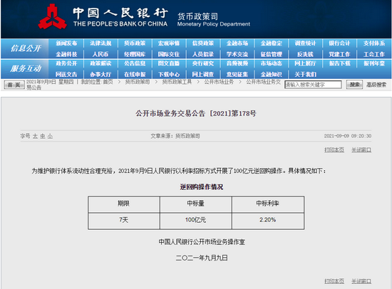 央行公开市场今日进行100亿元人民币7天期逆回购操作